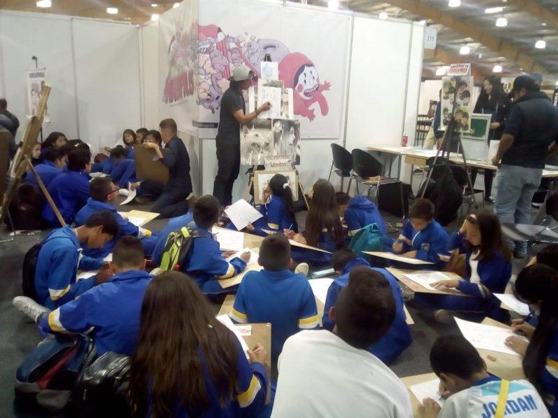 Laboratorio de dibujo para estudiantes con los artistas Fernando Llanos y Germán Robayo