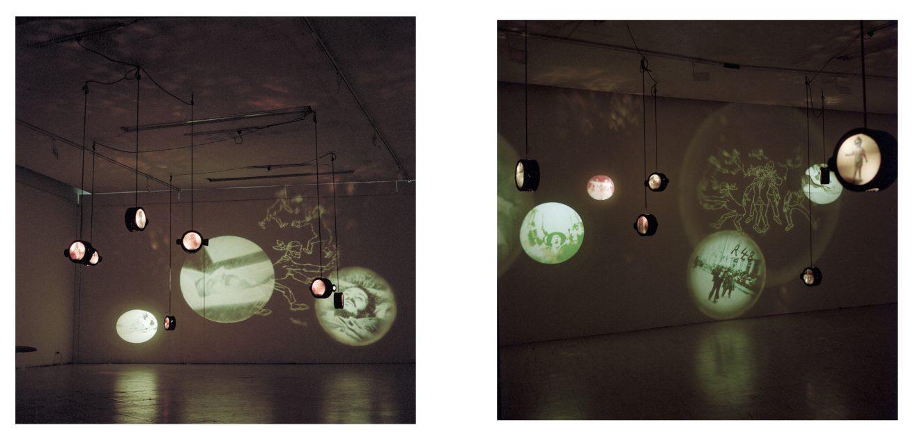 En la punta de la lengua (1997). Galería Santa Fe. Video instalación. Vista general.
