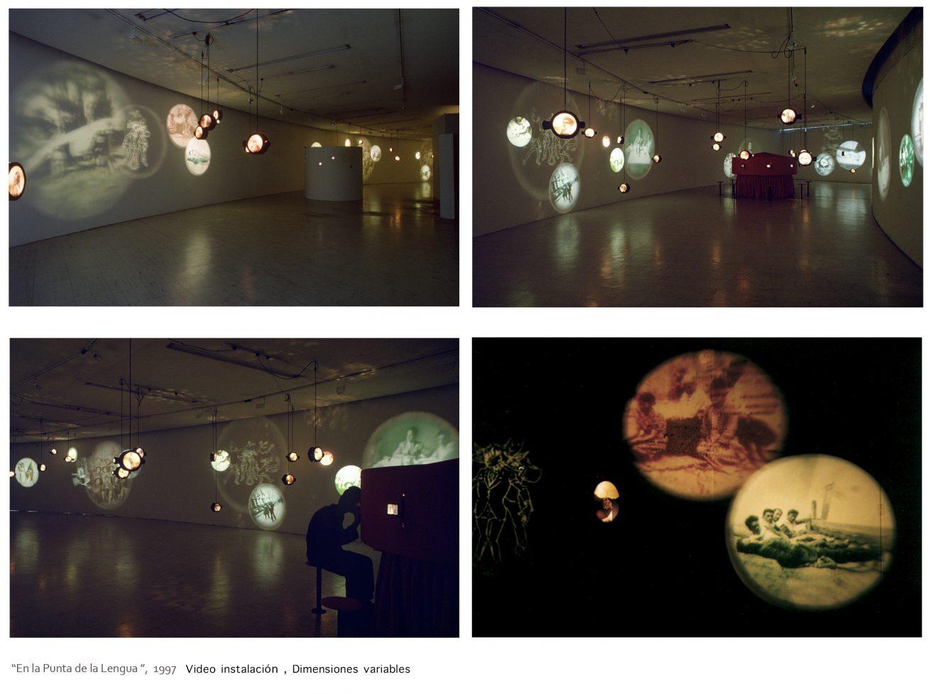 En la punta de la lengua (1997). Galería Santa Fe. Video instalación.